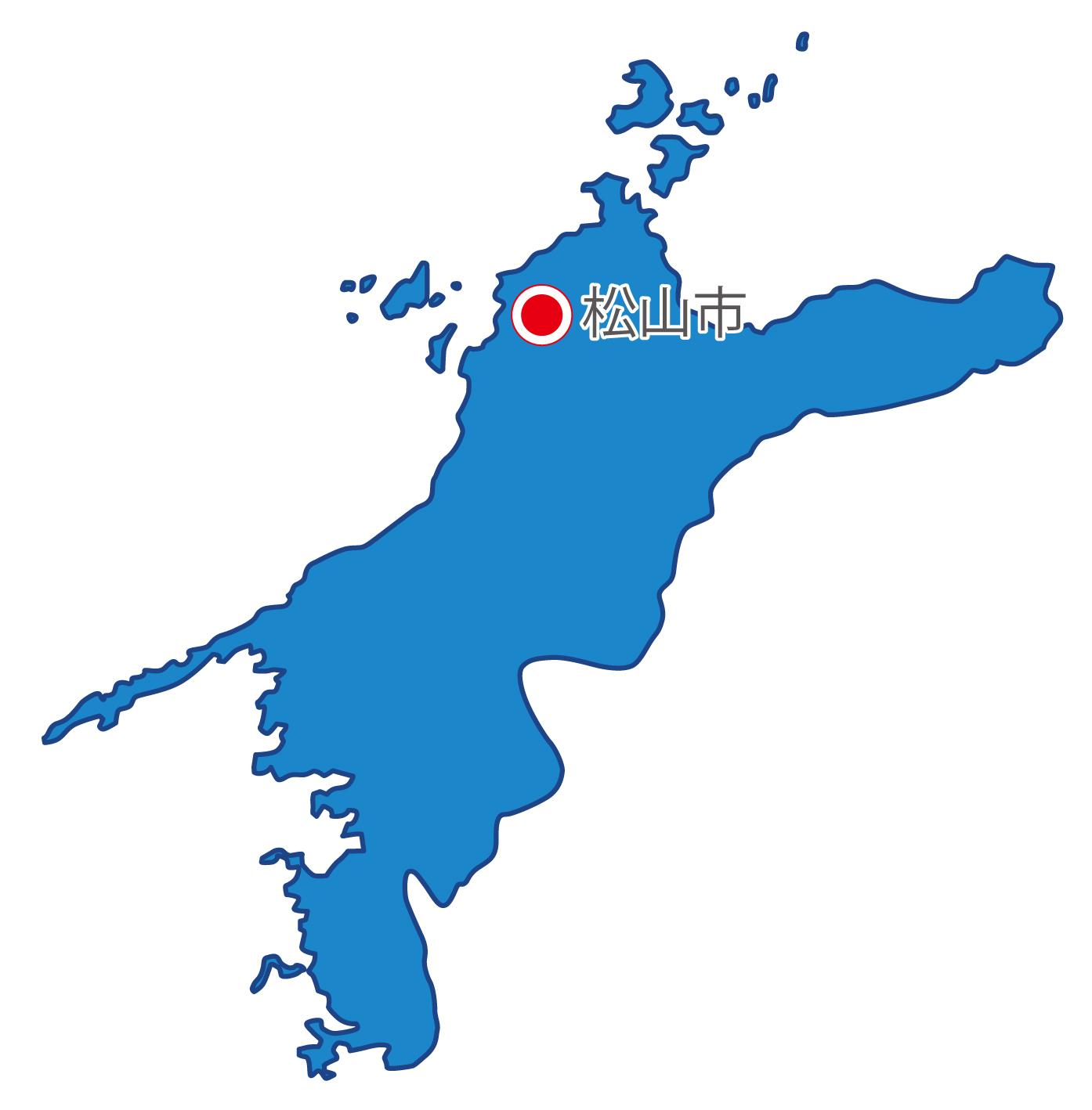 愛媛県無料フリーイラスト|日本語・県庁所在地あり(青)