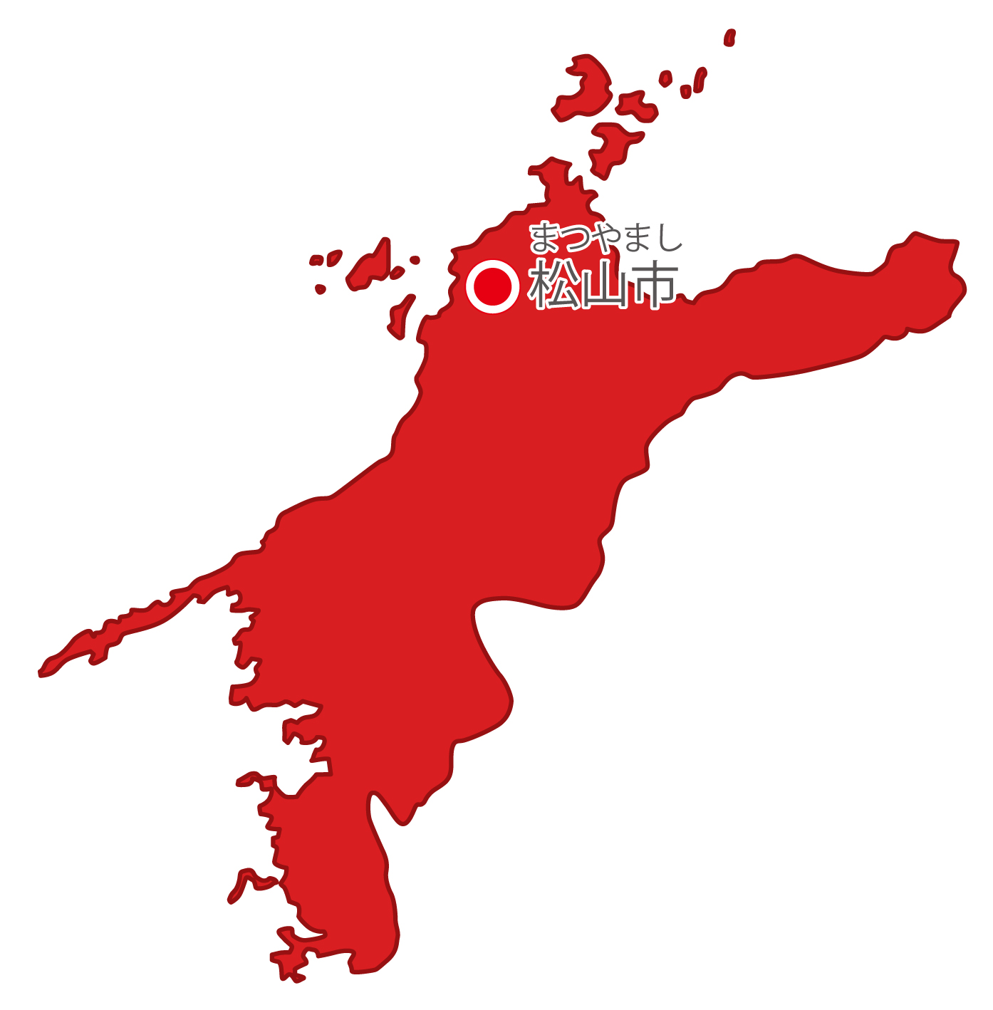 愛媛県無料フリーイラスト|日本語・県庁所在地あり・ルビあり(赤)