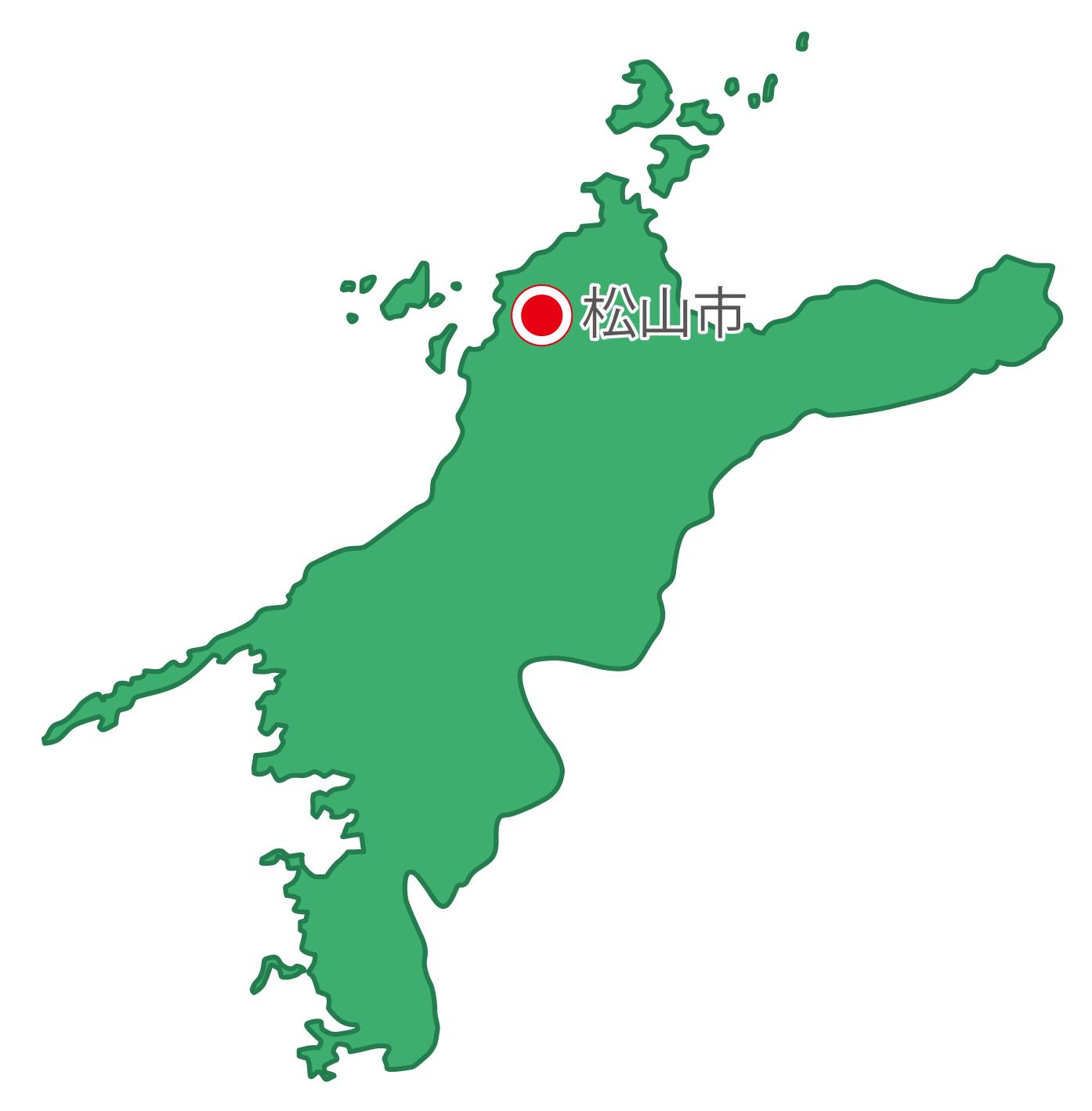 愛媛県無料フリーイラスト|日本語・県庁所在地あり(緑)