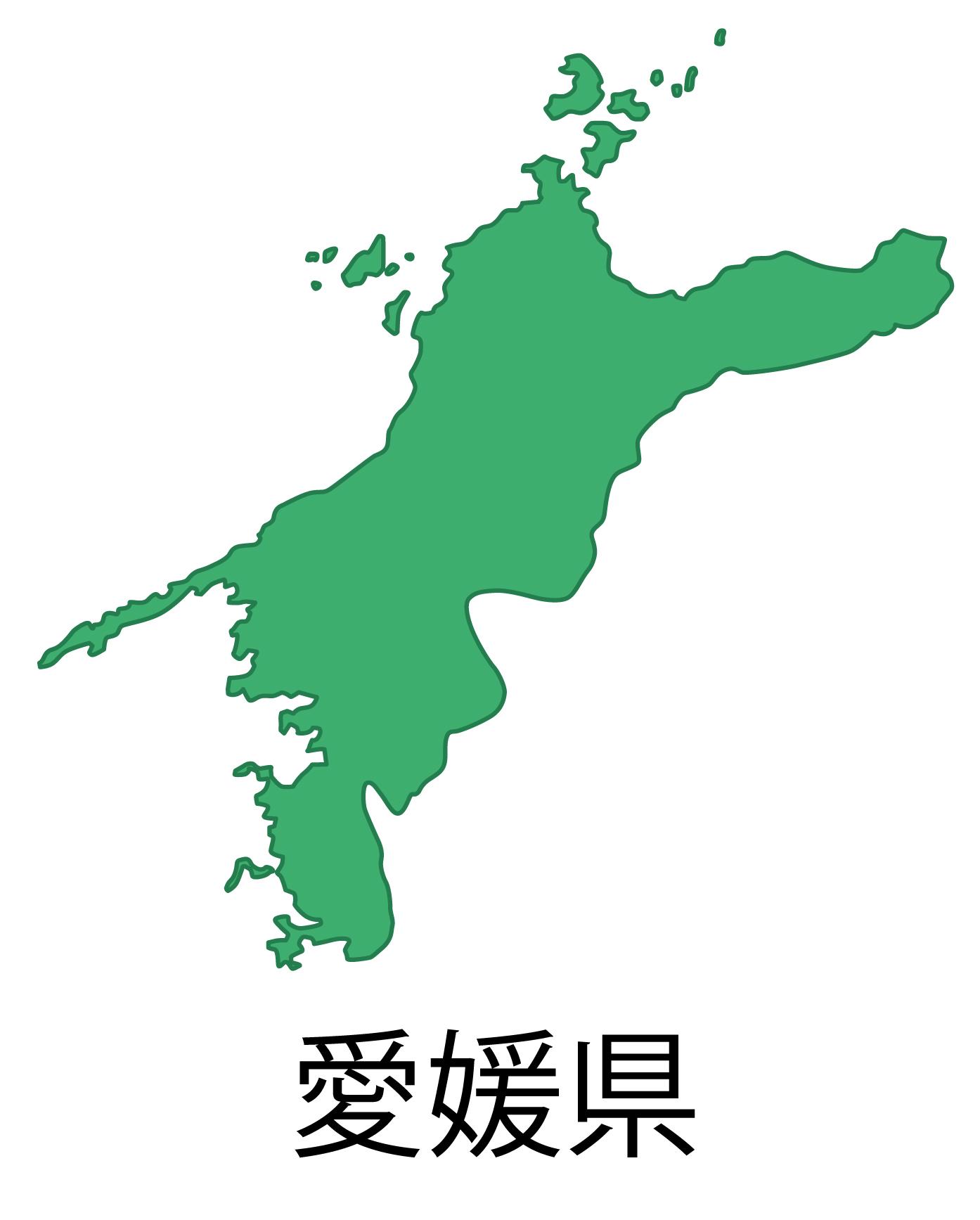 愛媛県無料フリーイラスト|日本語・都道府県名あり(緑)