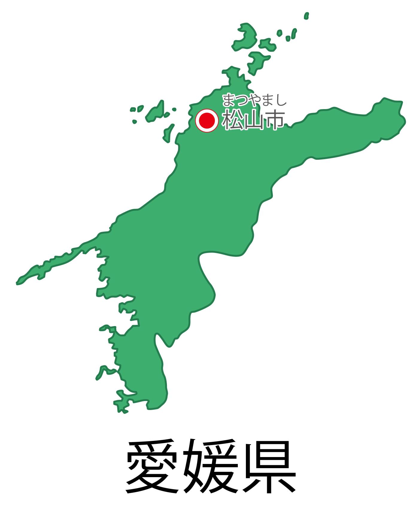 愛媛県無料フリーイラスト|日本語・都道府県名あり・県庁所在地あり・ルビあり(緑)