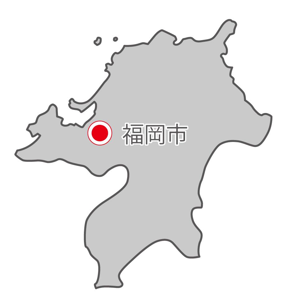 福岡県無料フリーイラスト|日本語・県庁所在地あり(グレー)