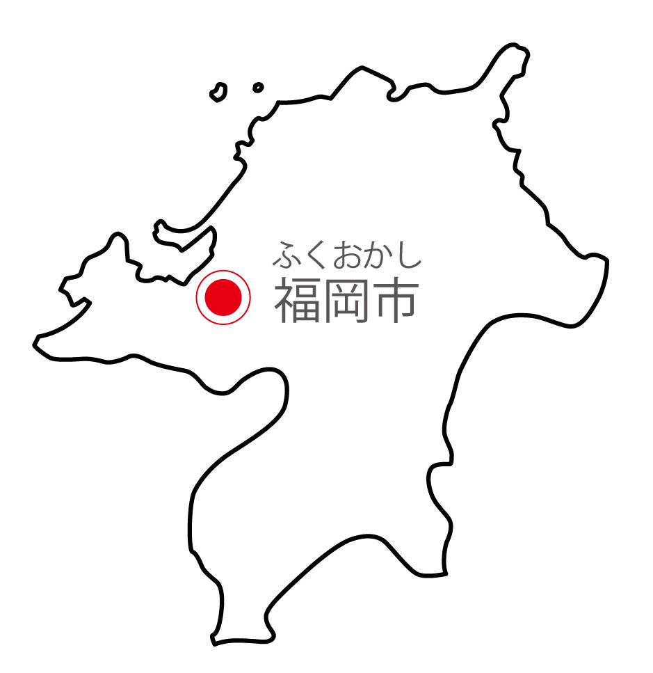 福岡県無料フリーイラスト|日本語・県庁所在地あり・ルビあり(白)