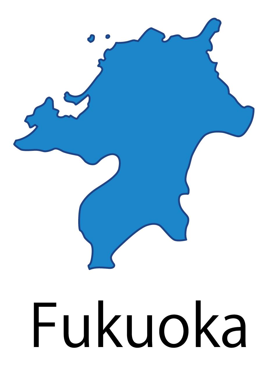 福岡県無料フリーイラスト|英語・都道府県名あり(青)