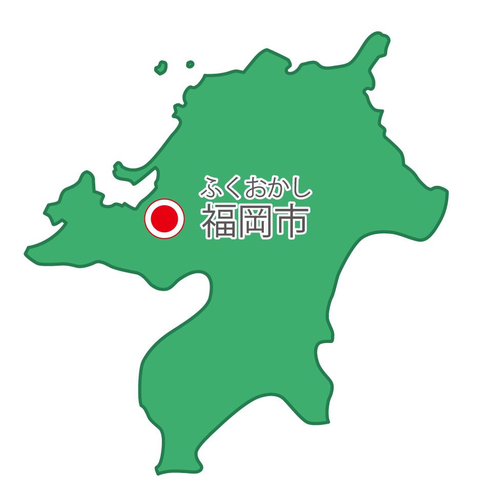福岡県無料フリーイラスト|日本語・県庁所在地あり・ルビあり(緑)