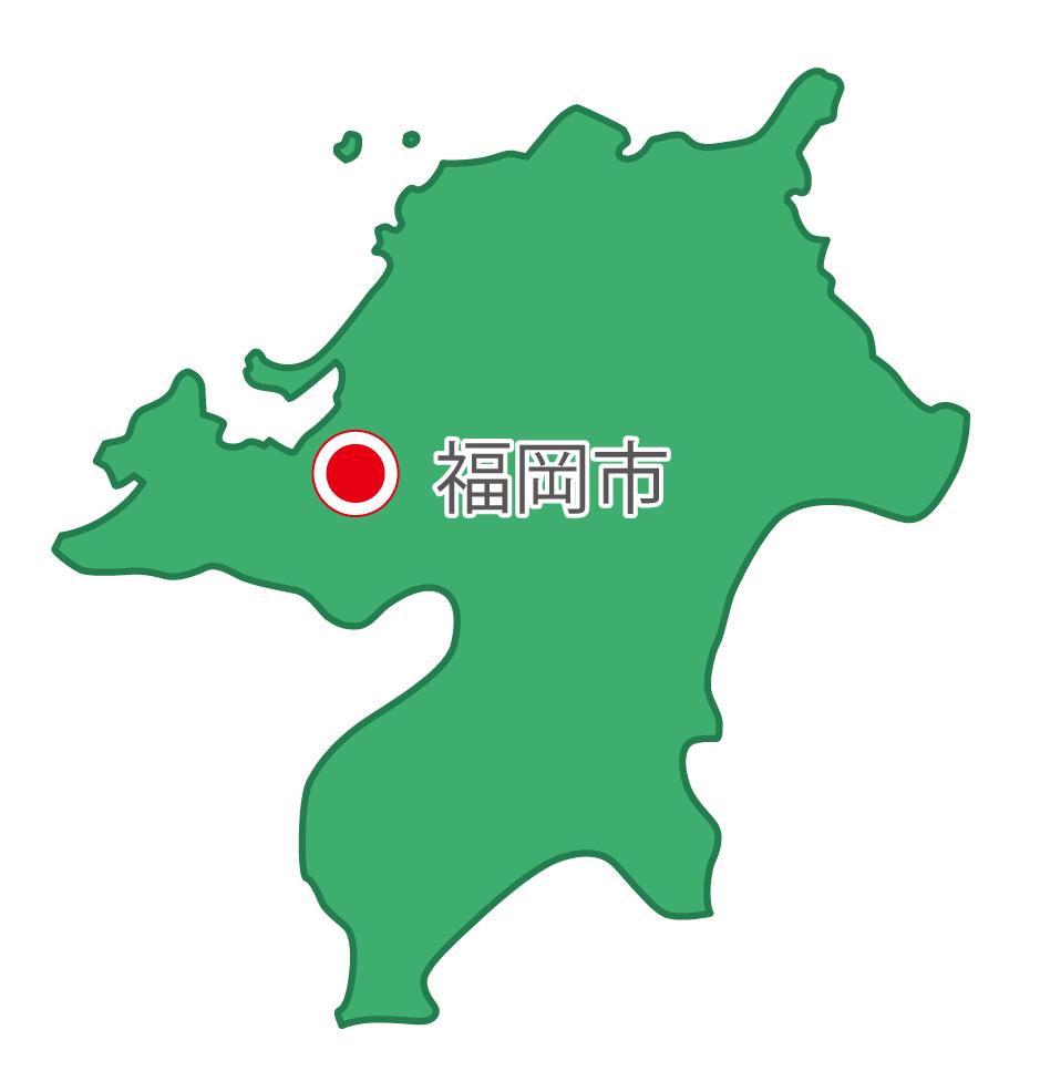 福岡県無料フリーイラスト|日本語・県庁所在地あり(緑)