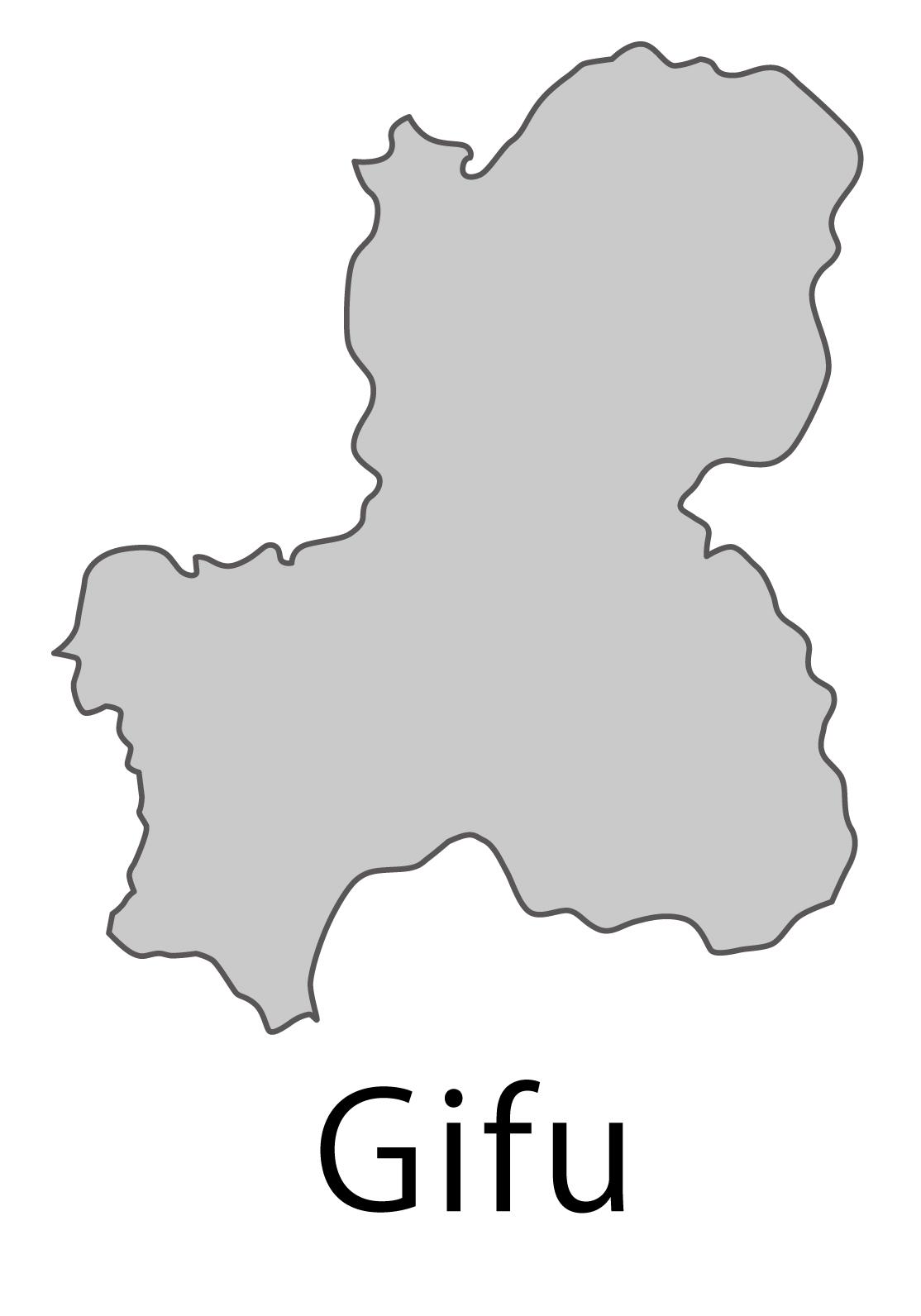 岐阜県無料フリーイラスト|英語・都道府県名あり(グレー)
