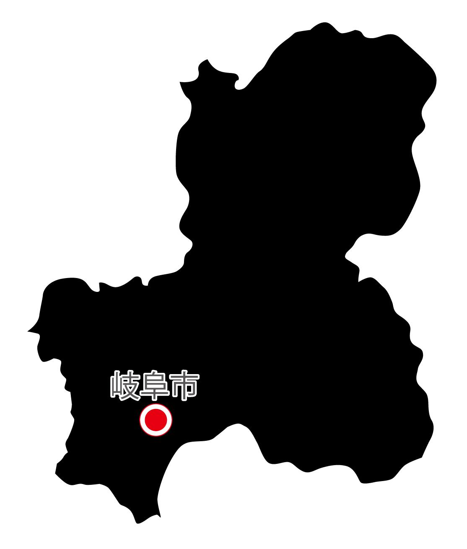 岐阜県無料フリーイラスト|日本語・県庁所在地あり(黒)