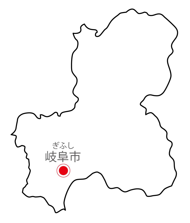 岐阜県無料フリーイラスト|日本語・県庁所在地あり・ルビあり(白)