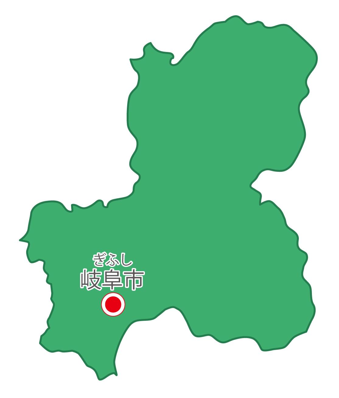 岐阜県無料フリーイラスト|日本語・県庁所在地あり・ルビあり(緑)