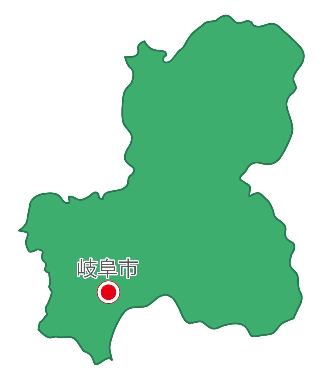 岐阜県無料フリーイラスト|日本語・県庁所在地あり(緑)