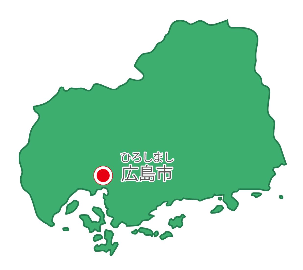広島県無料フリーイラスト|日本語・県庁所在地あり・ルビあり(緑)
