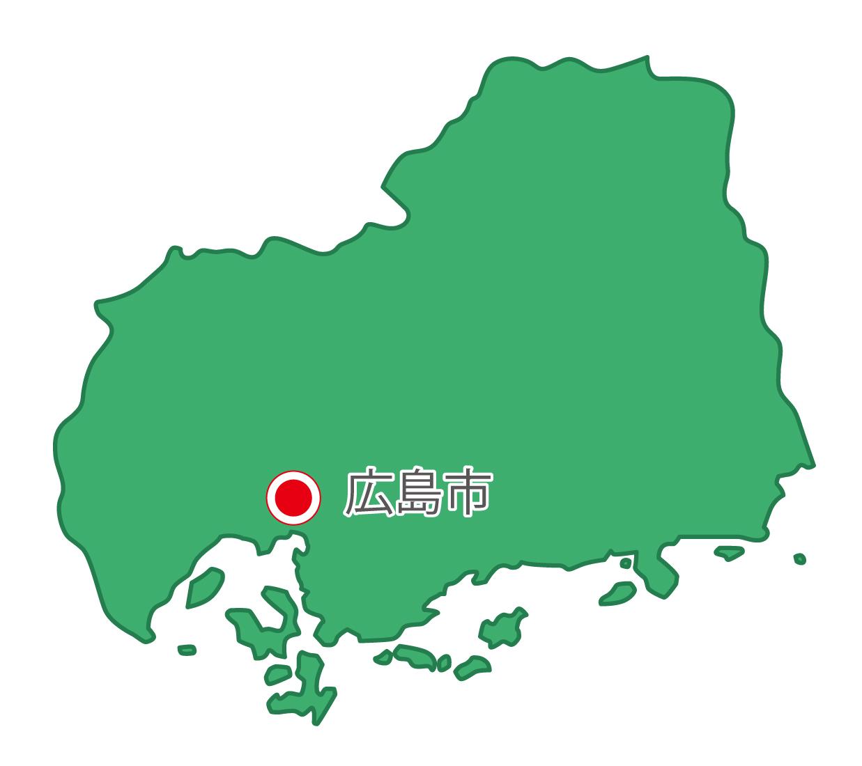 広島県無料フリーイラスト|日本語・県庁所在地あり(緑)