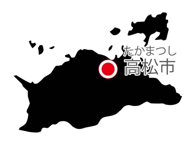 香川県無料フリーイラスト|日本語・県庁所在地あり・ルビあり(黒)