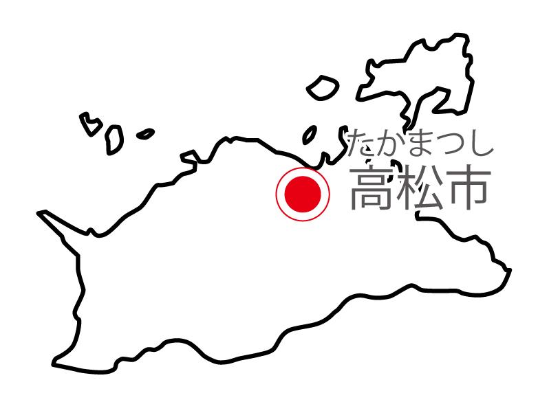 香川県無料フリーイラスト|日本語・県庁所在地あり・ルビあり(白)