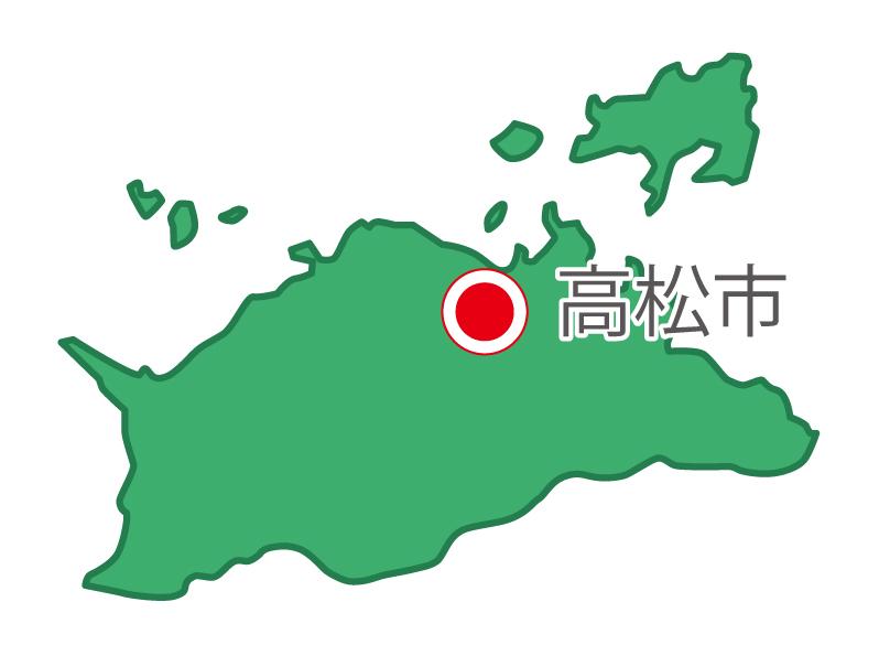 香川県無料フリーイラスト|日本語・県庁所在地あり(緑)