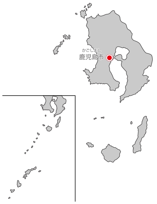 鹿児島県無料フリーイラスト|日本語・県庁所在地あり・ルビあり(グレー)