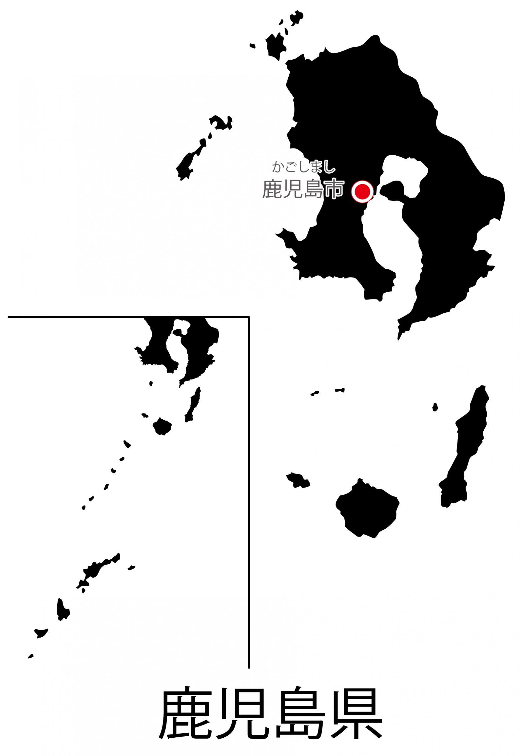 鹿児島県無料フリーイラスト|日本語・都道府県名あり・県庁所在地あり・ルビあり(黒)