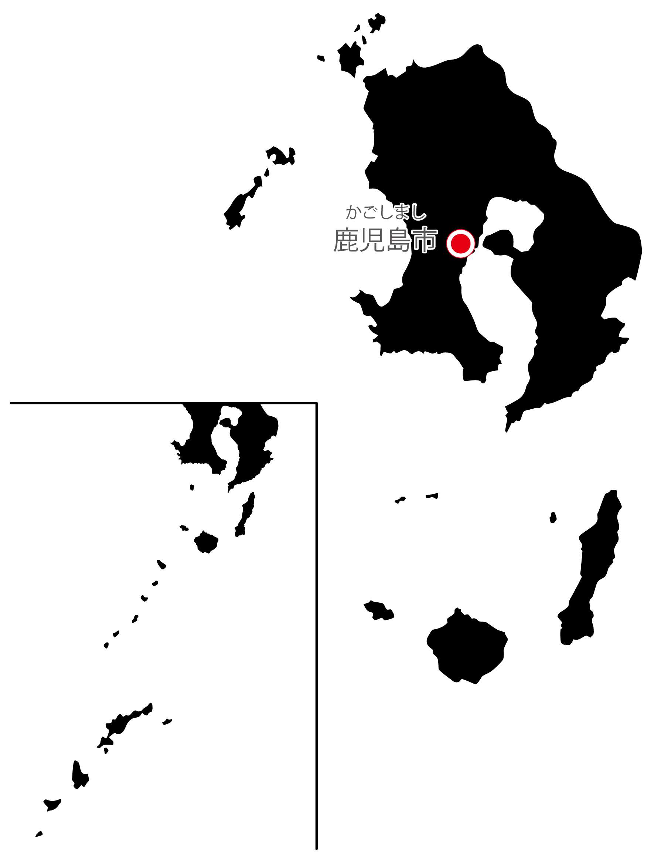 鹿児島県無料フリーイラスト|日本語・県庁所在地あり・ルビあり(黒)