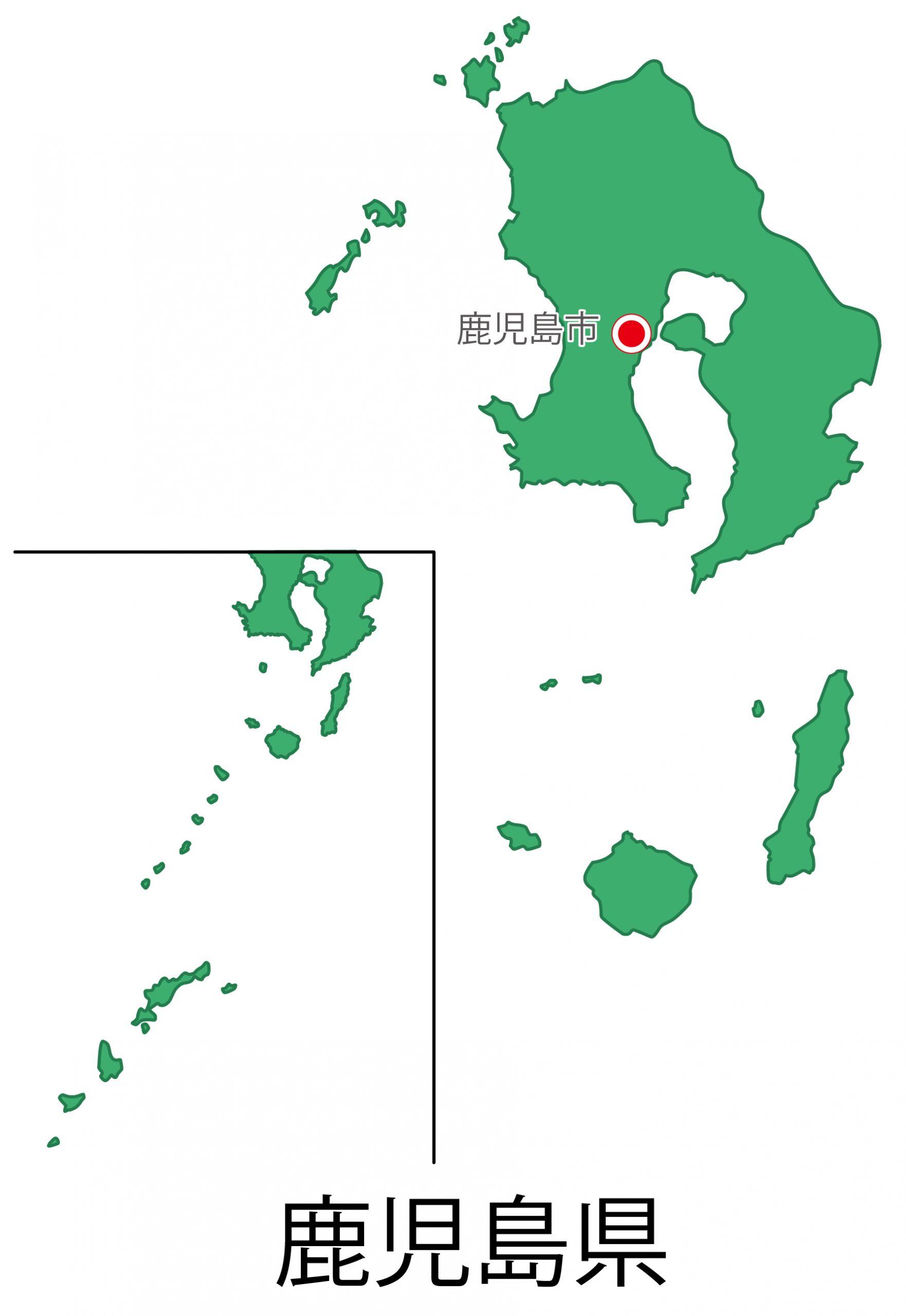 鹿児島県無料フリーイラスト|日本語・都道府県名あり・県庁所在地あり(緑)