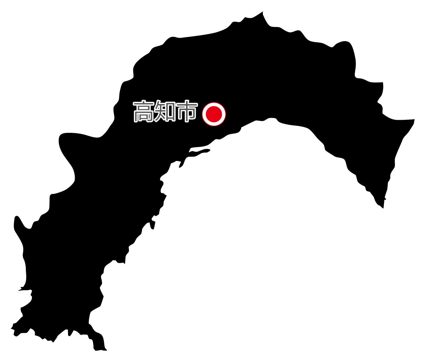 高知県無料フリーイラスト|日本語・県庁所在地あり(黒)