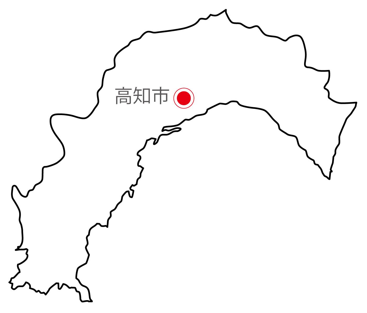 高知県無料フリーイラスト|日本語・県庁所在地あり(白)