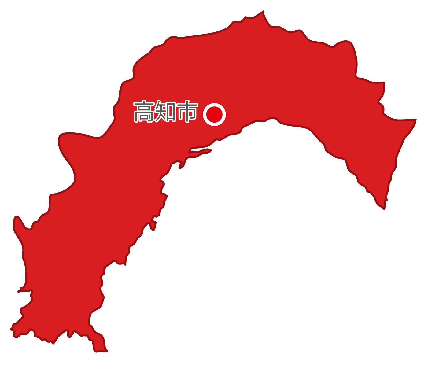 高知県無料フリーイラスト|日本語・県庁所在地あり(赤)
