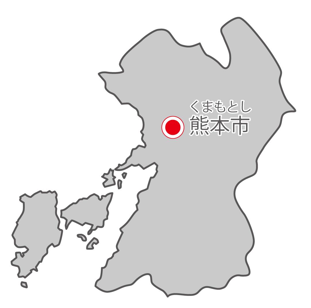 熊本県無料フリーイラスト|日本語・県庁所在地あり・ルビあり(グレー)