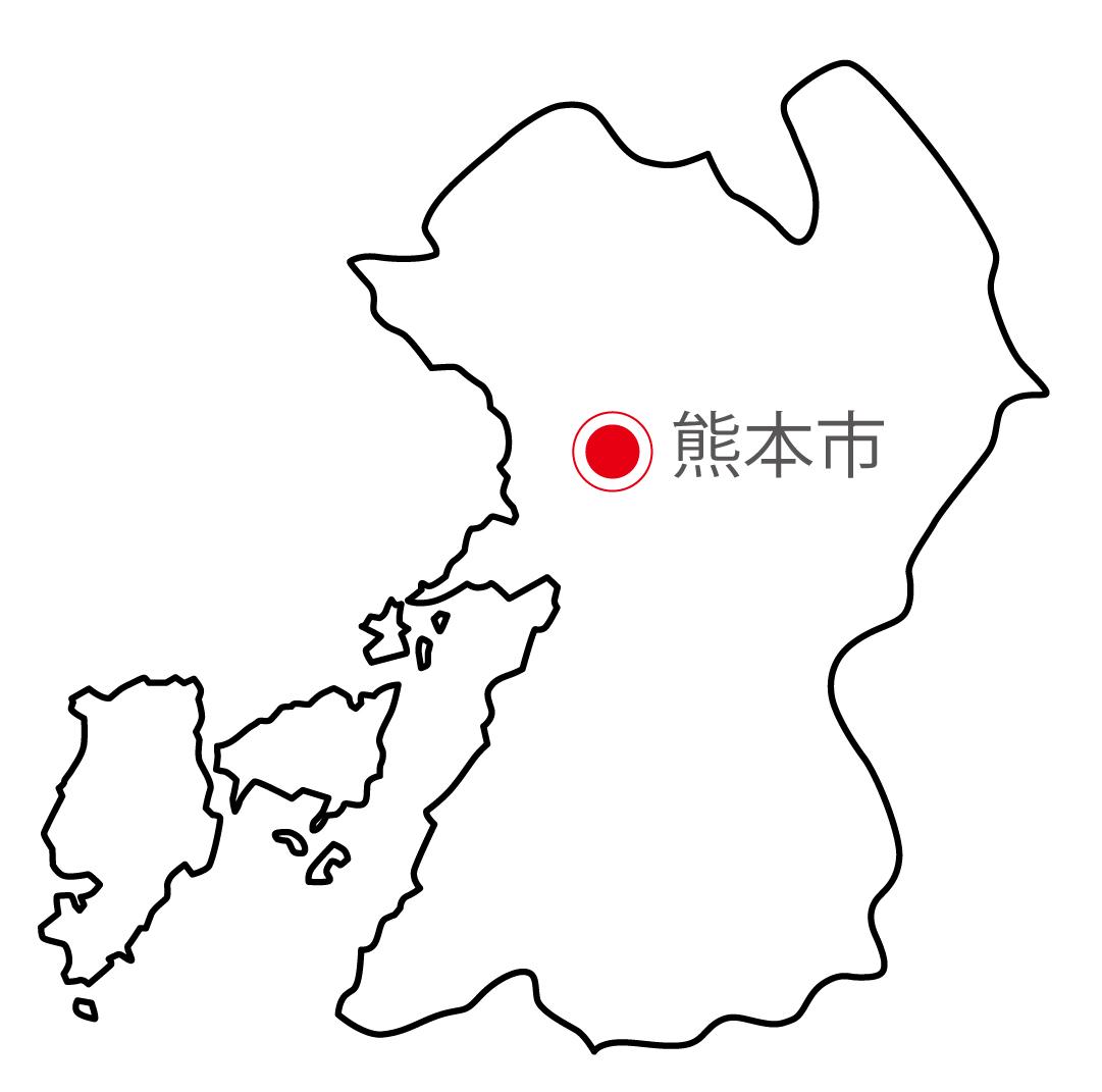 熊本県無料フリーイラスト|日本語・県庁所在地あり(白)