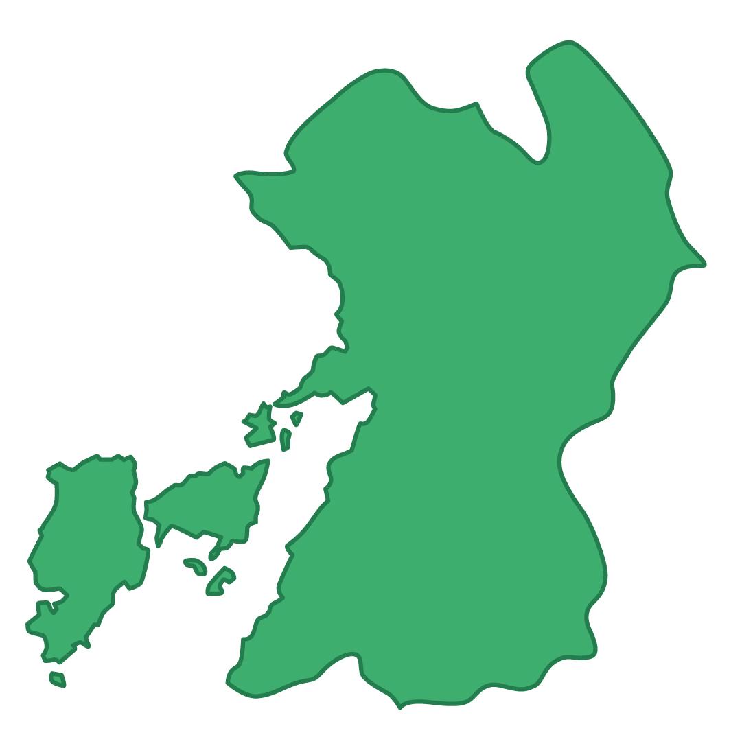 熊本県無料フリーイラスト|文字なし(緑)
