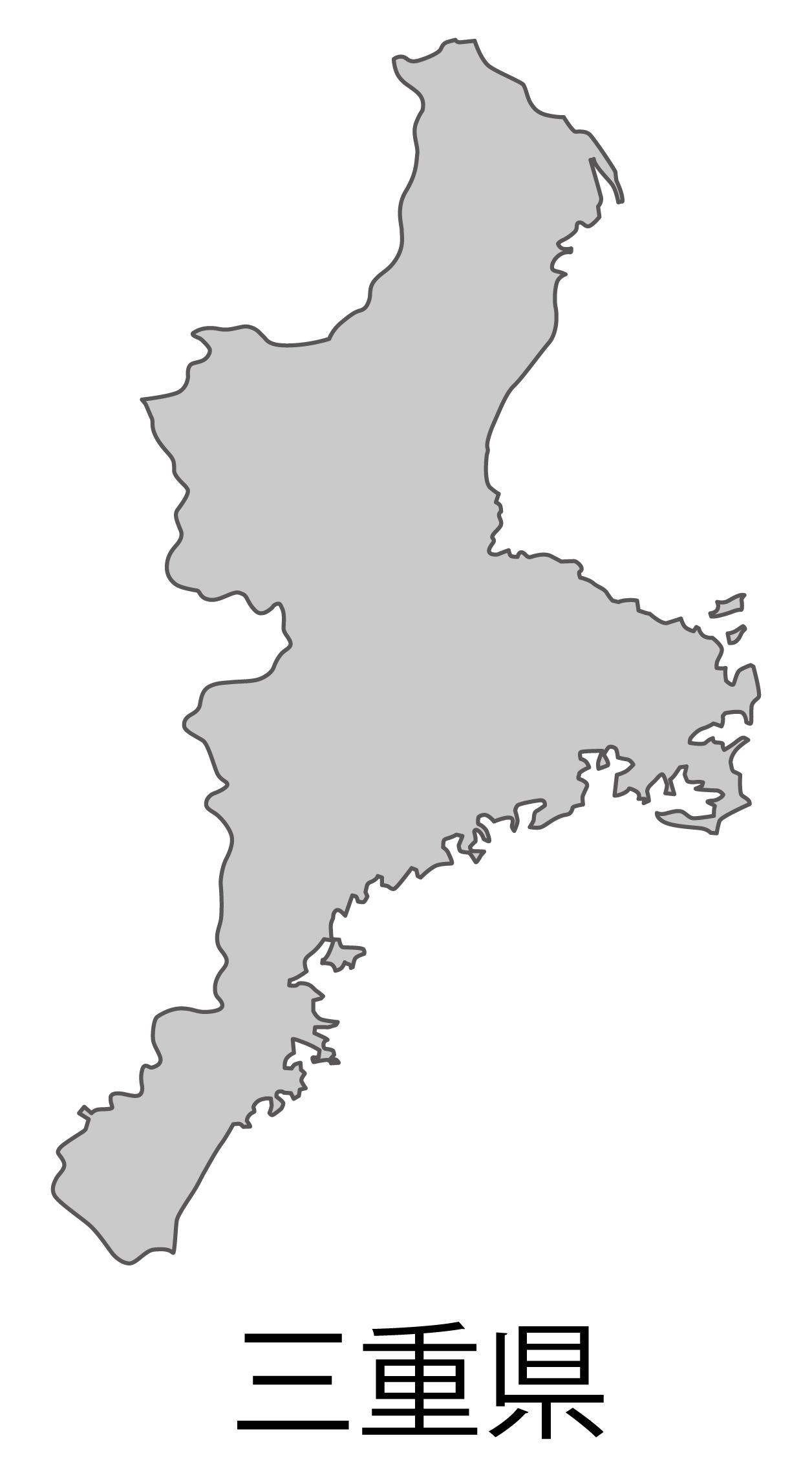 三重県無料フリーイラスト|日本語・都道府県名あり(グレー)
