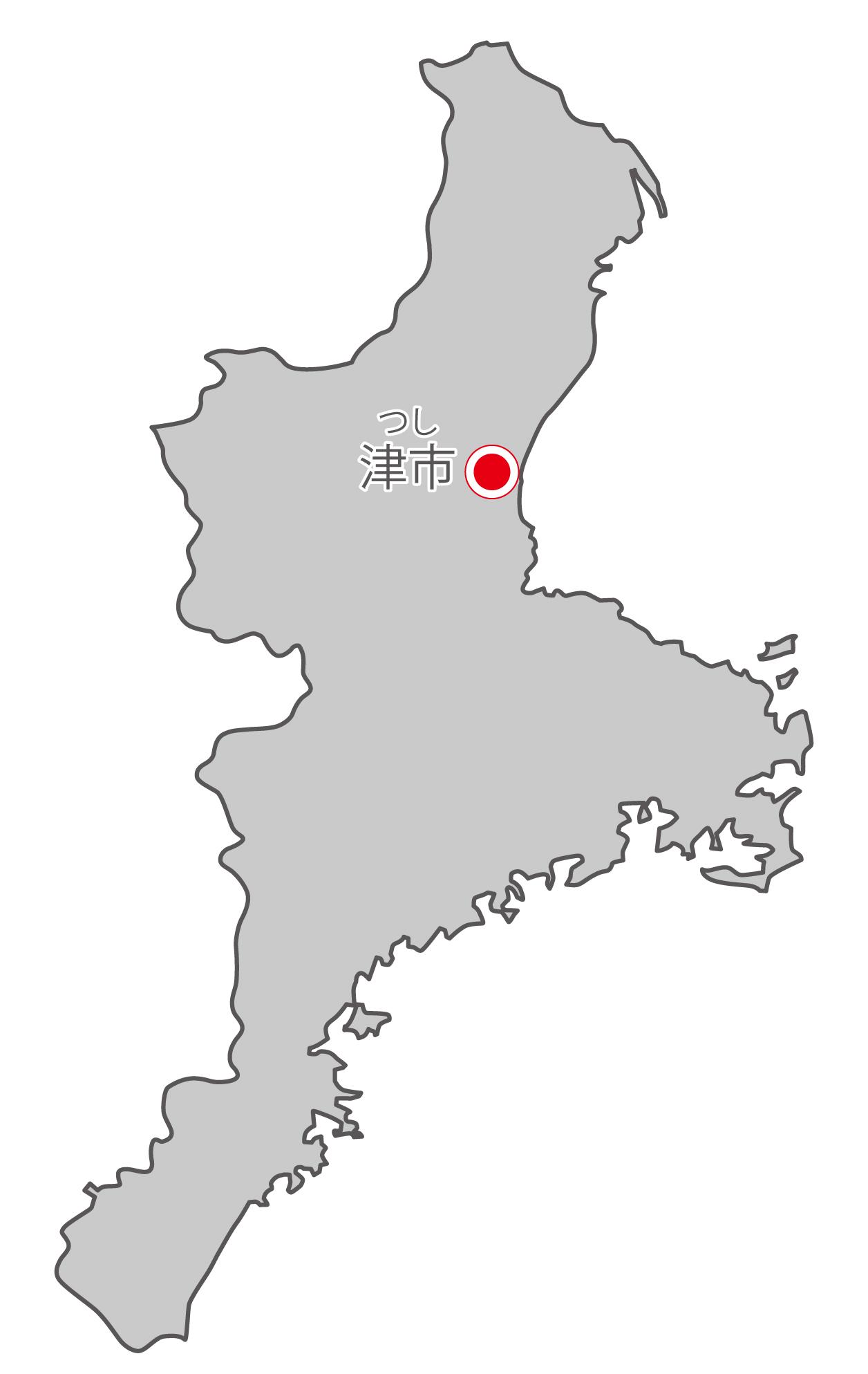 三重県無料フリーイラスト|日本語・県庁所在地あり・ルビあり(グレー)