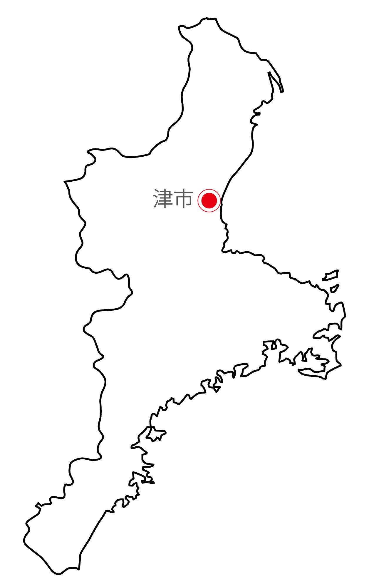 三重県無料フリーイラスト|日本語・県庁所在地あり(白)