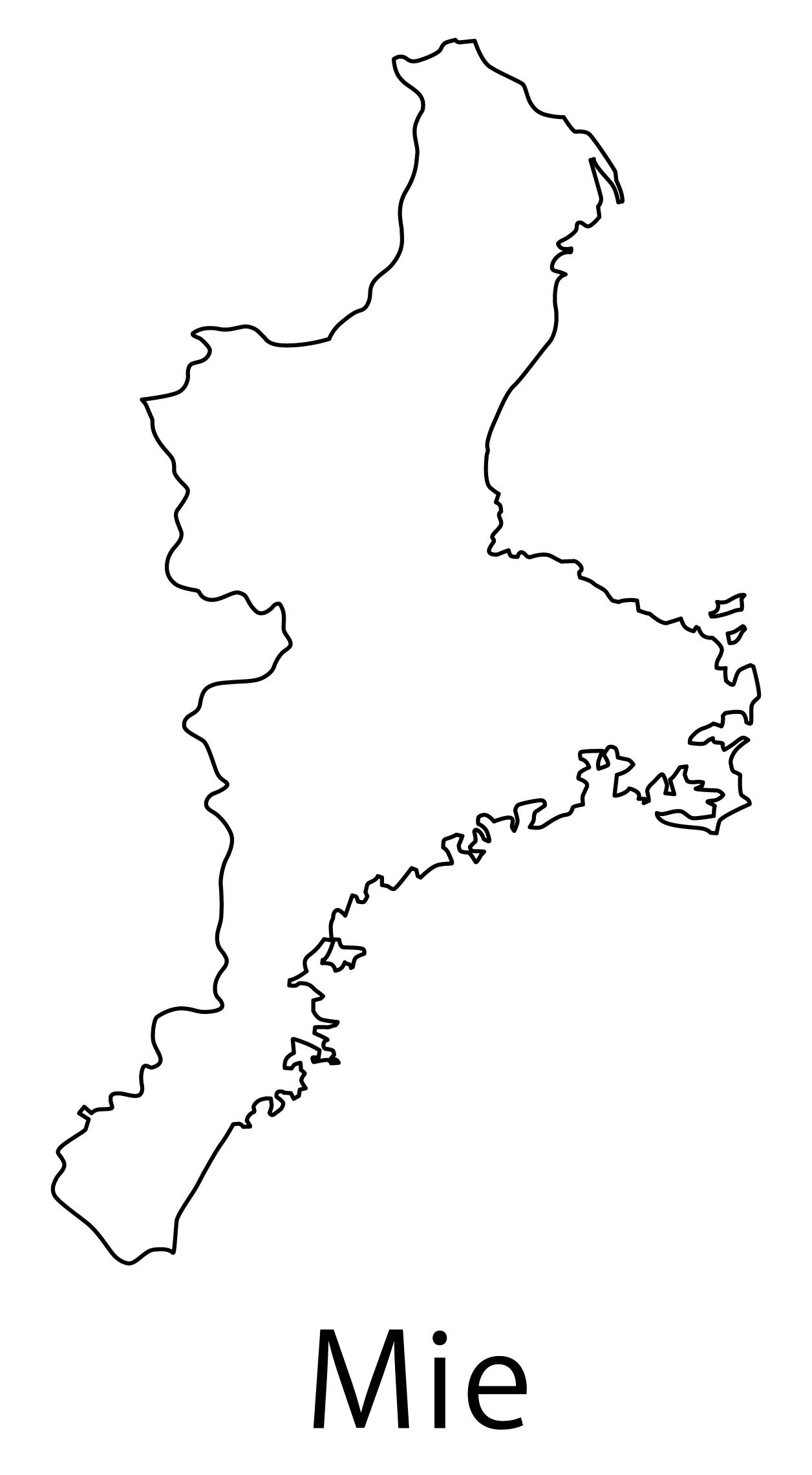 三重県無料フリーイラスト|英語・都道府県名あり(白)