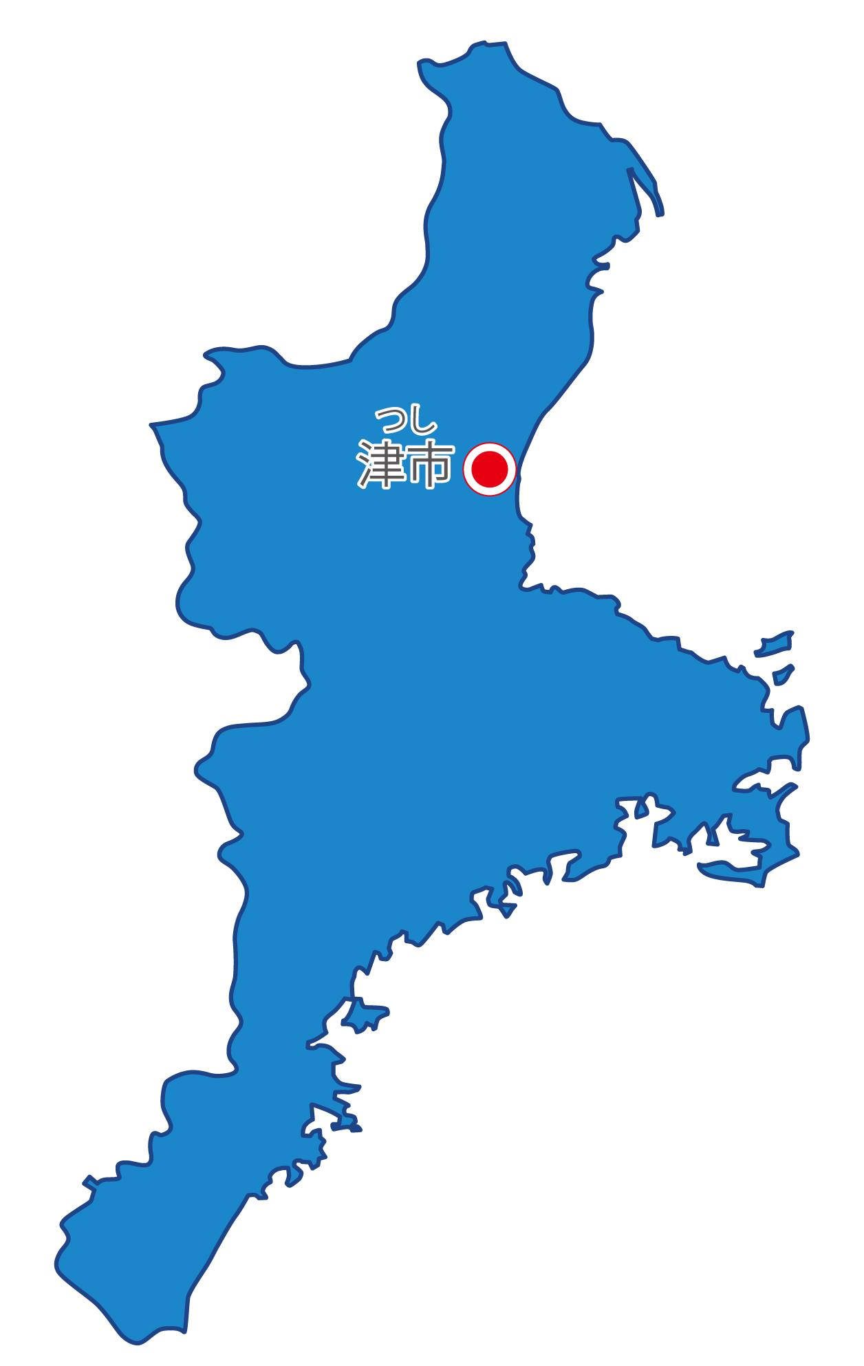 三重県無料フリーイラスト|日本語・県庁所在地あり・ルビあり(青)