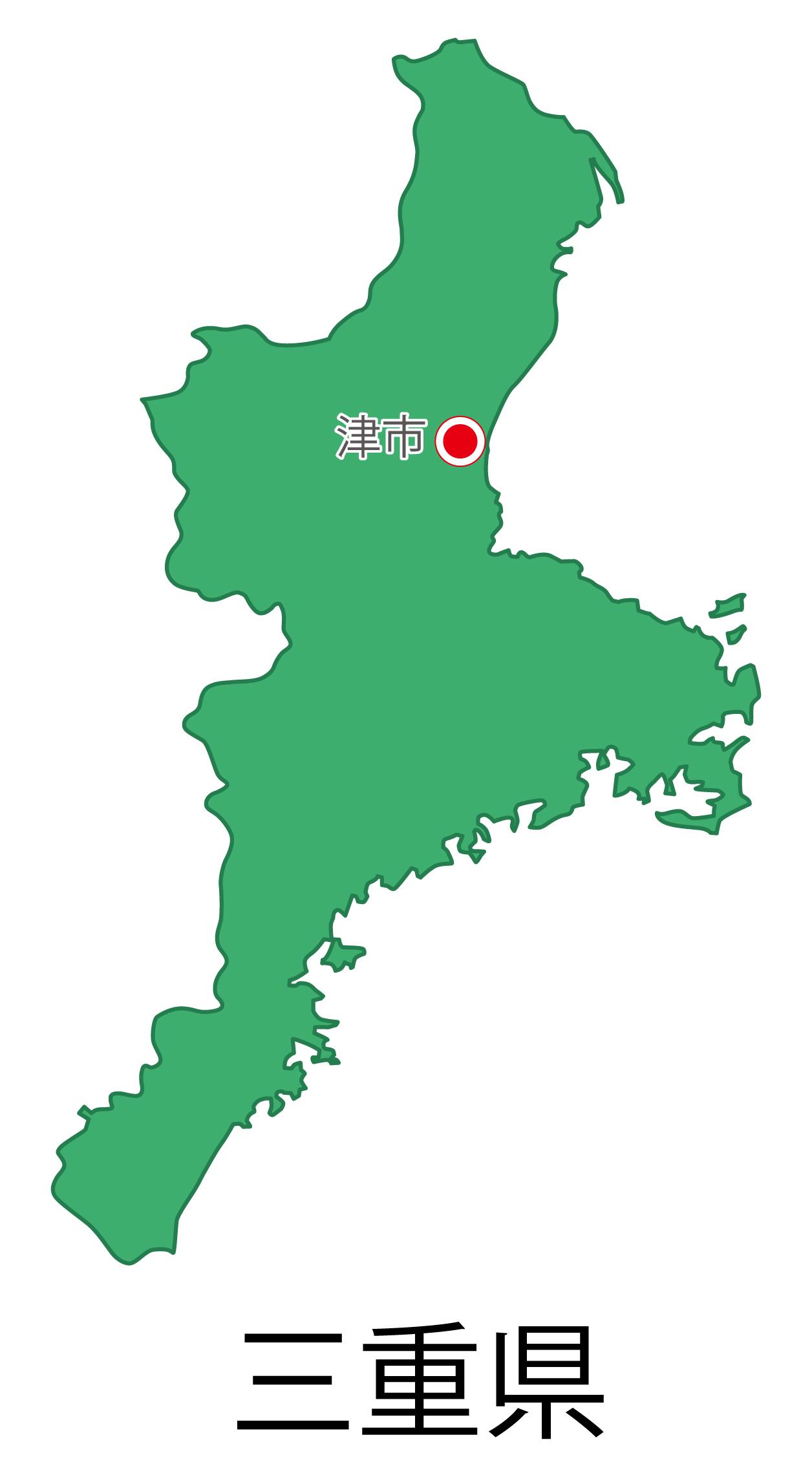 三重県無料フリーイラスト|日本語・都道府県名あり・県庁所在地あり(緑)