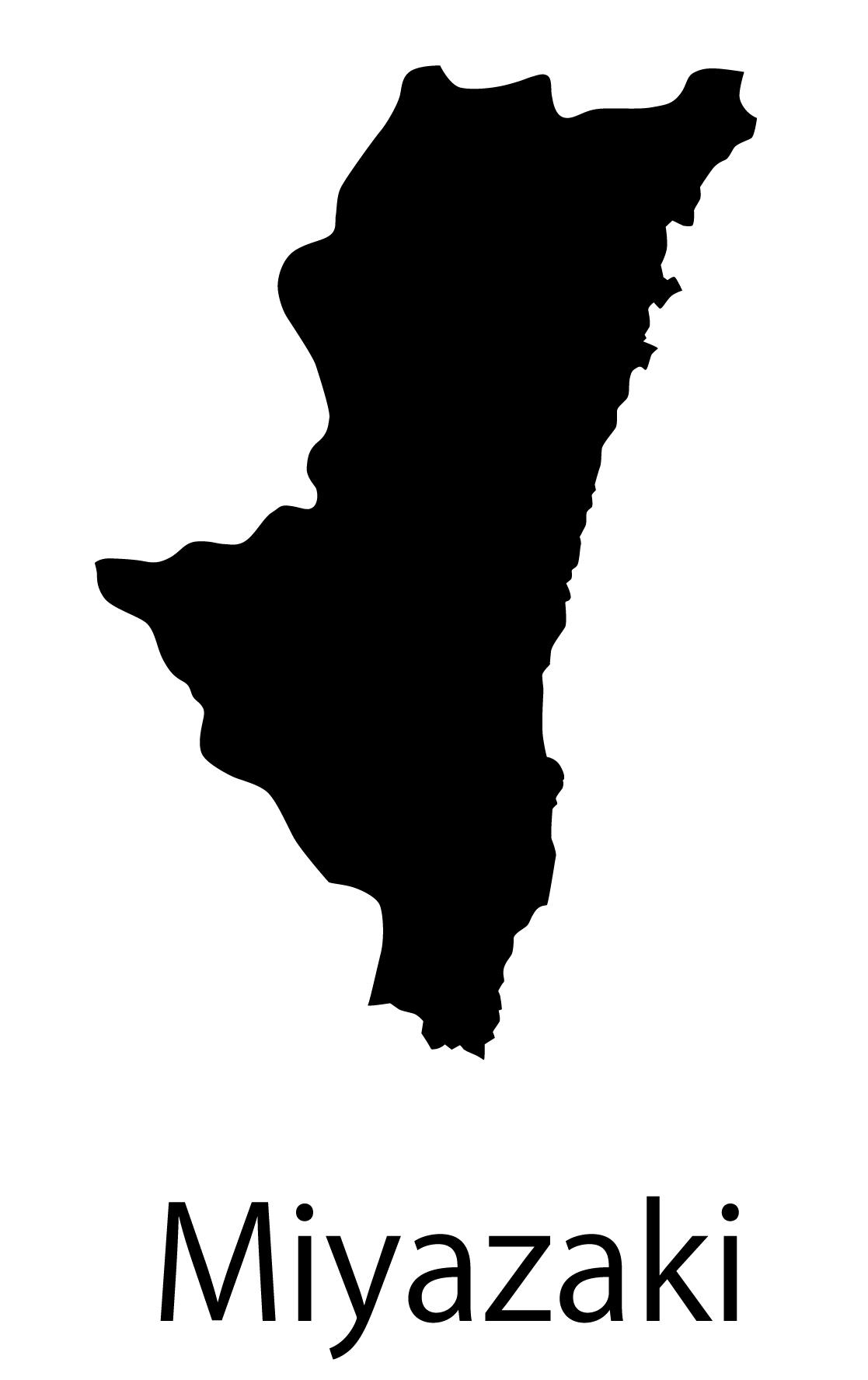 宮崎県無料フリーイラスト|英語・都道府県名あり(黒)