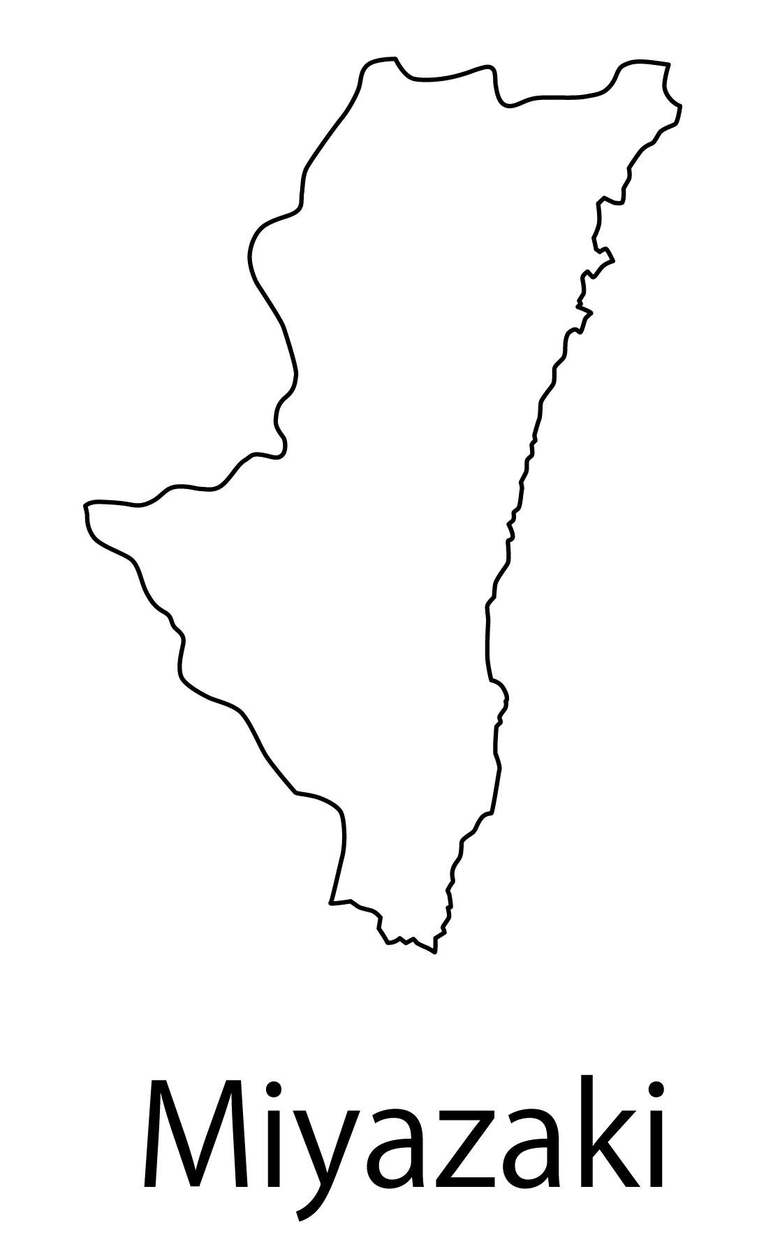 宮崎県無料フリーイラスト|英語・都道府県名あり(白)