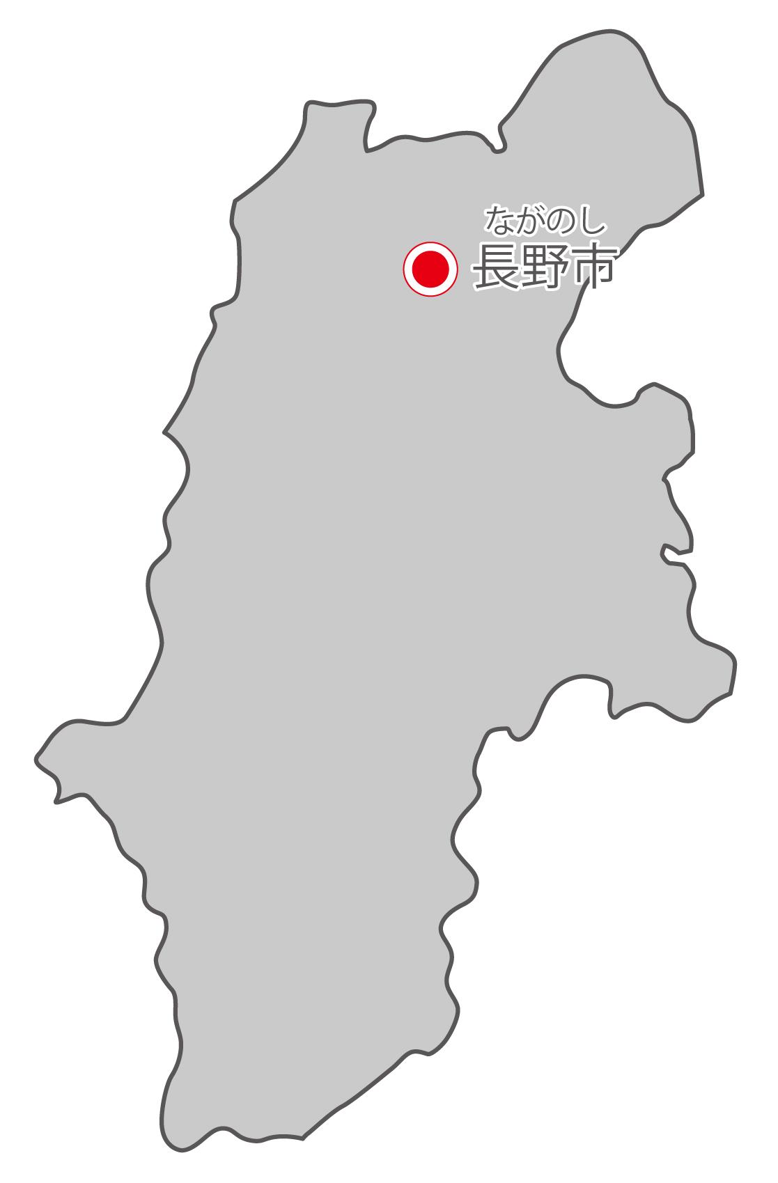 長野県無料フリーイラスト|日本語・県庁所在地あり・ルビあり(グレー)