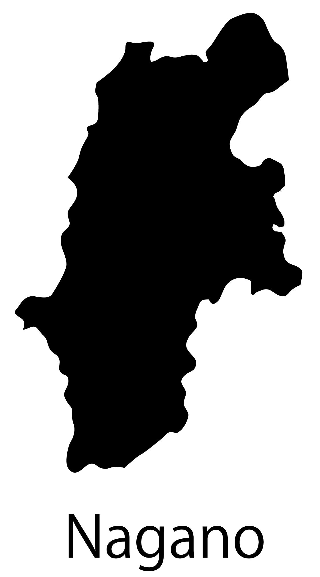 長野県無料フリーイラスト|英語・都道府県名あり(黒)