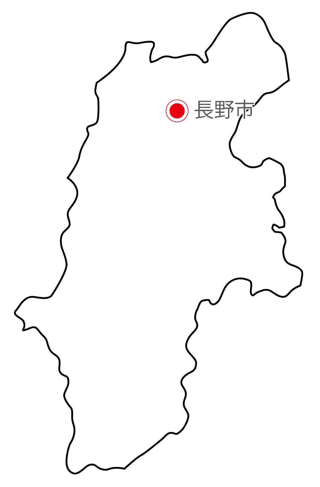 長野県無料フリーイラスト|日本語・県庁所在地あり(白)