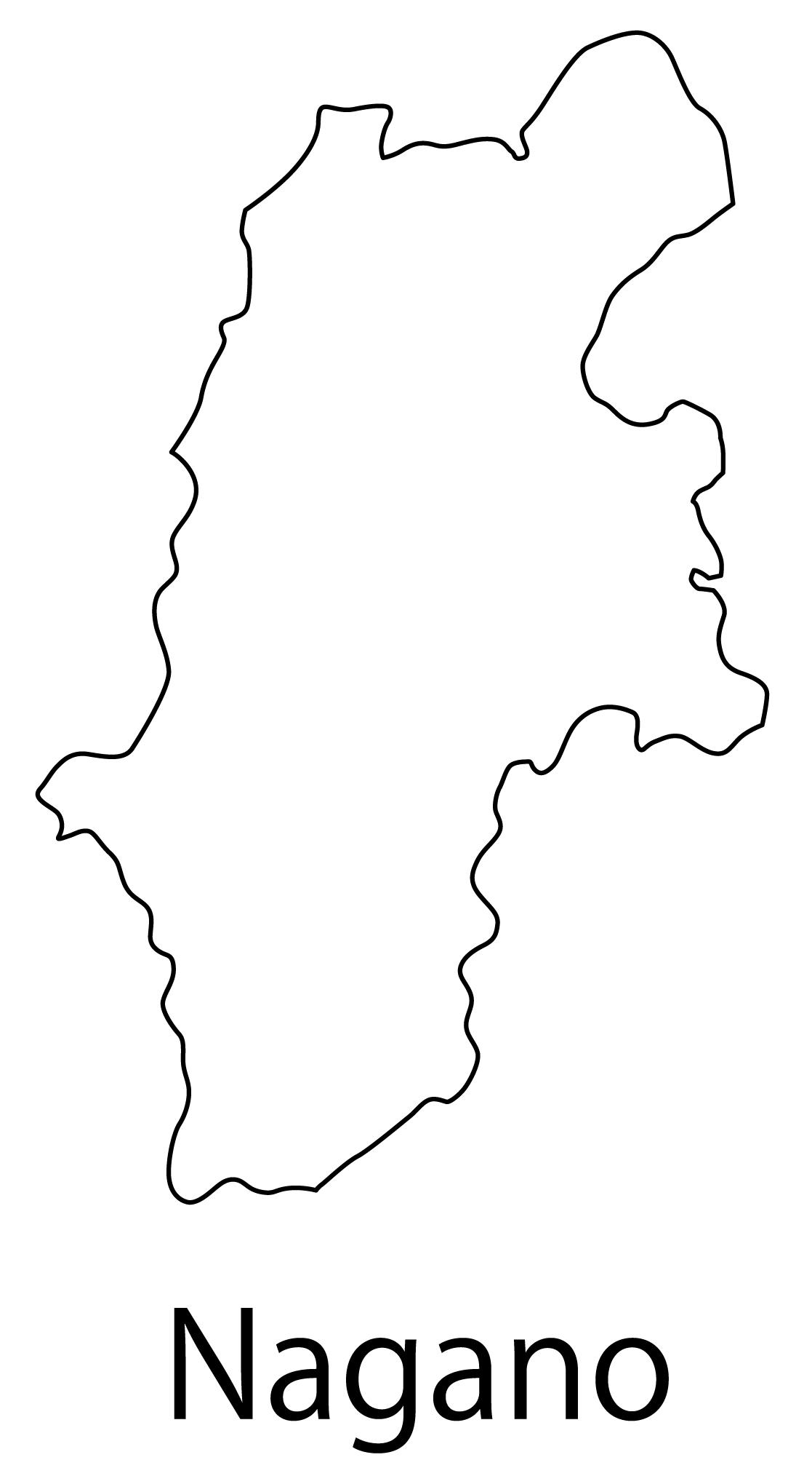 長野県無料フリーイラスト|英語・都道府県名あり(白)