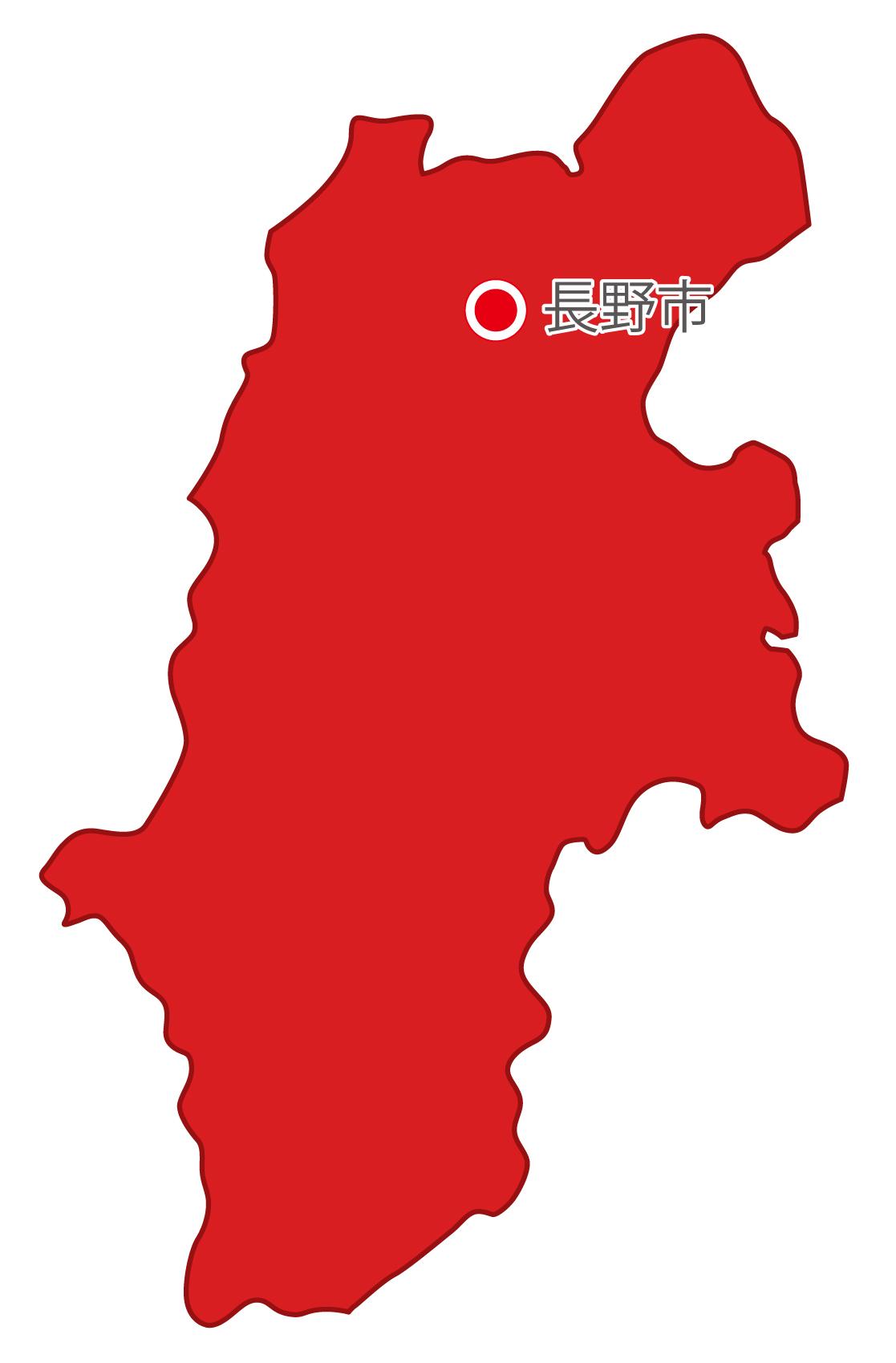 長野県無料フリーイラスト|日本語・県庁所在地あり(赤)