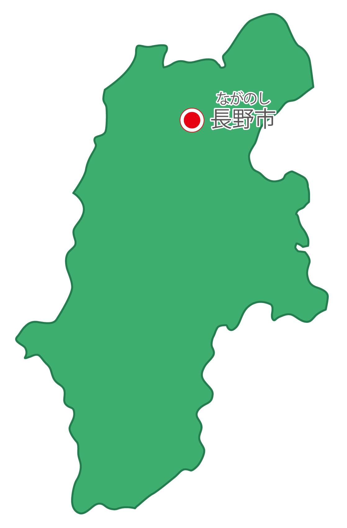 長野県無料フリーイラスト|日本語・県庁所在地あり・ルビあり(緑)