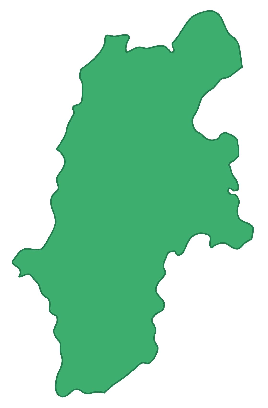 長野県無料フリーイラスト|文字なし(緑)