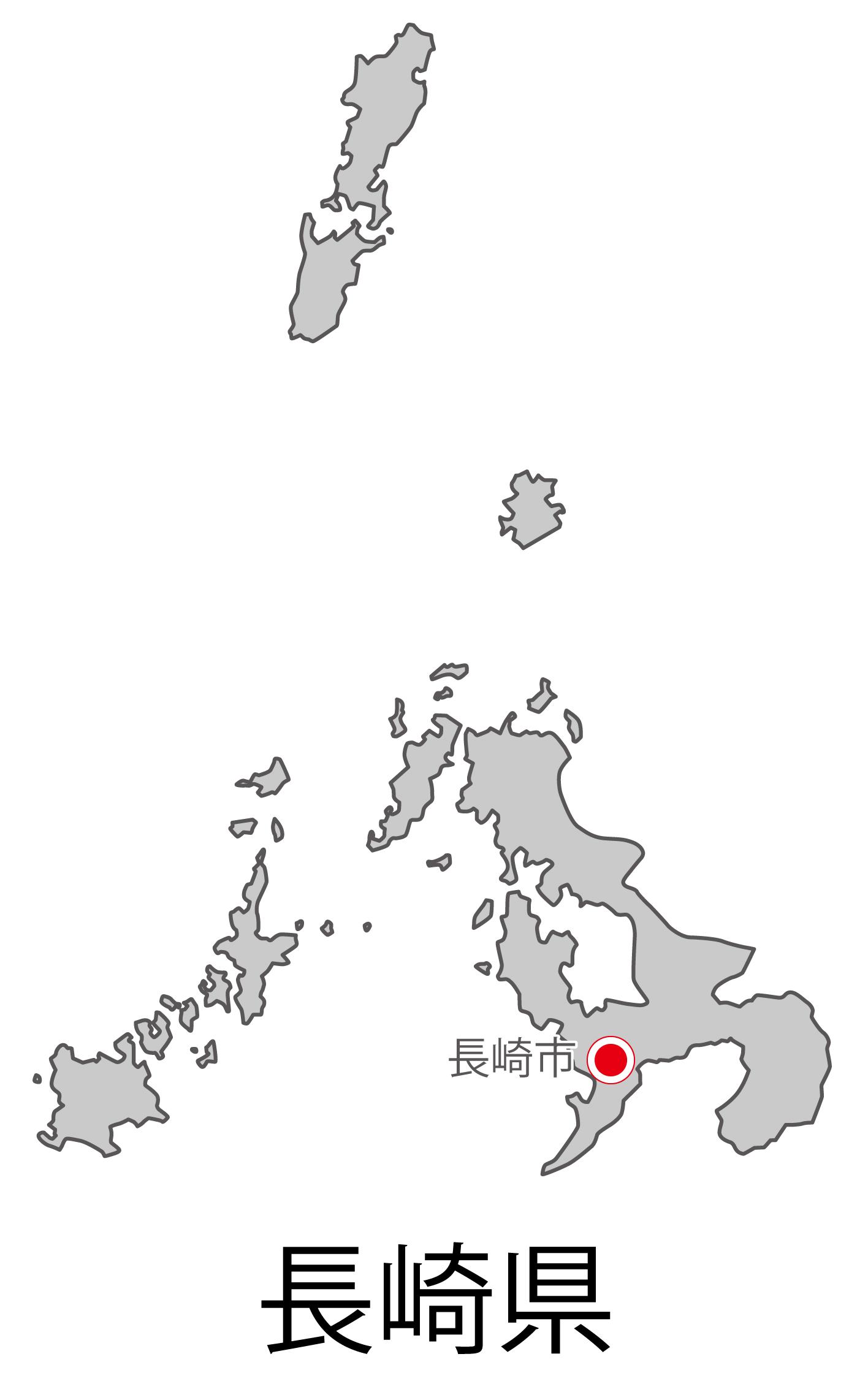 長崎県無料フリーイラスト|日本語・都道府県名あり・県庁所在地あり(グレー)