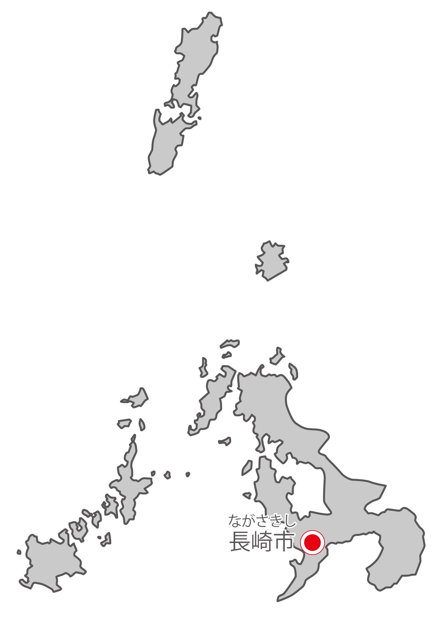 長崎県無料フリーイラスト|日本語・県庁所在地あり・ルビあり(グレー)