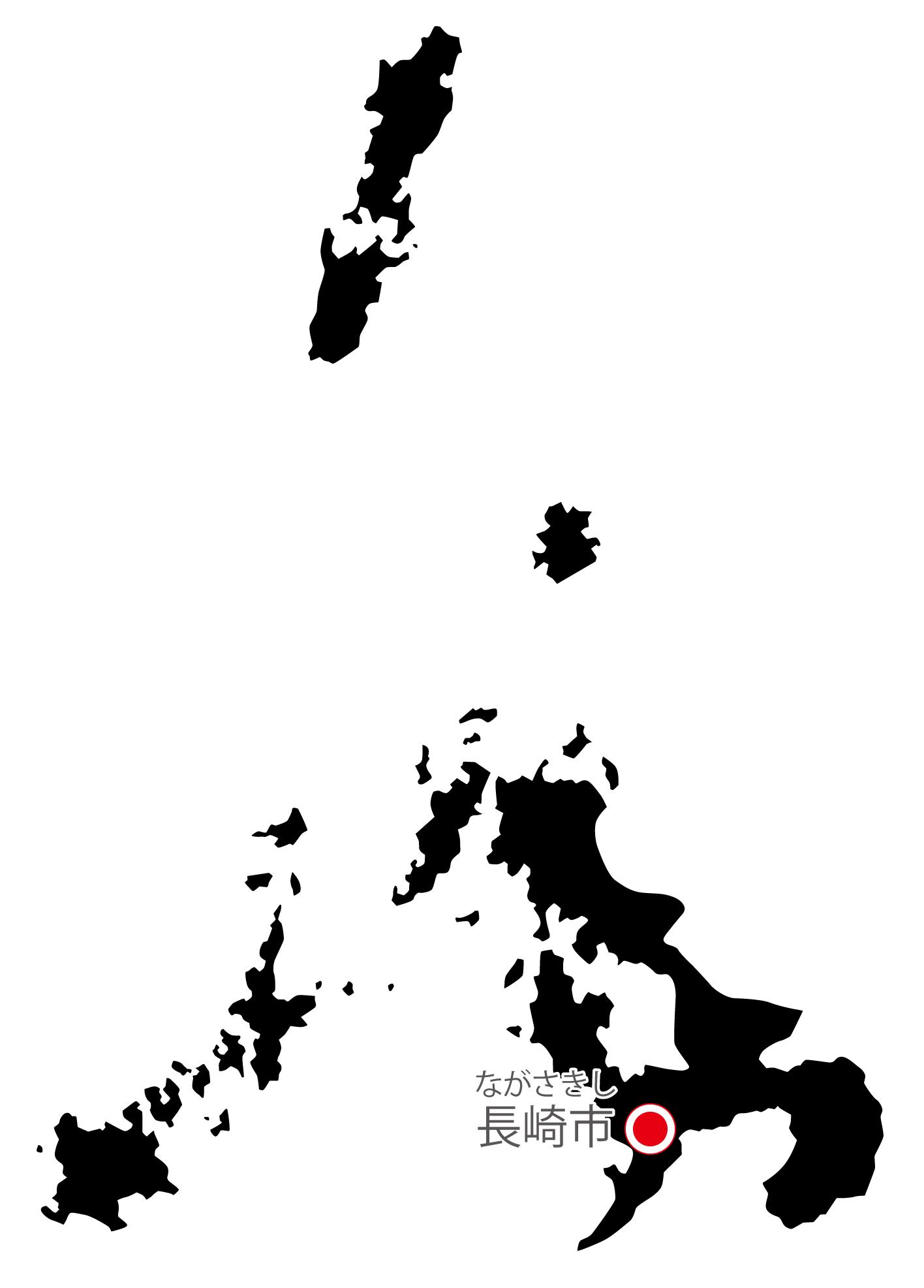 長崎県無料フリーイラスト|日本語・県庁所在地あり・ルビあり(黒)