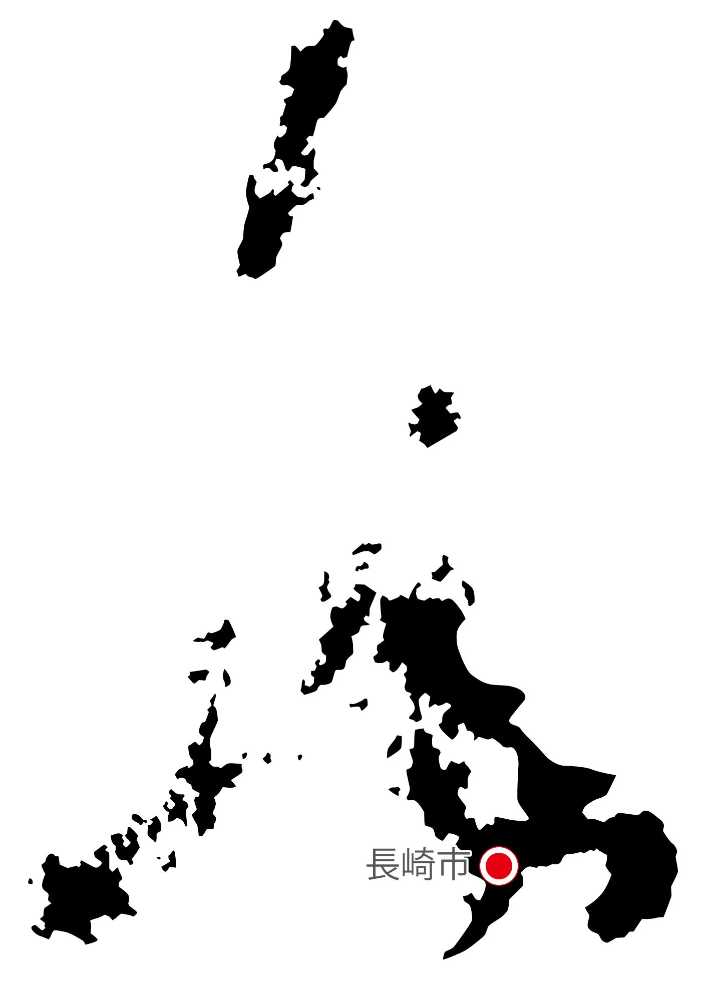 長崎県無料フリーイラスト|日本語・県庁所在地あり(黒)