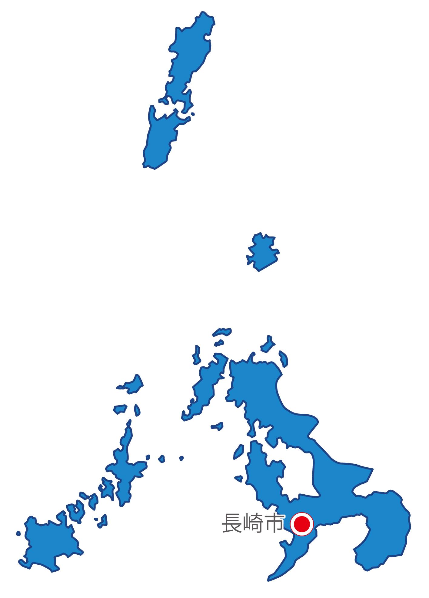 長崎県無料フリーイラスト|日本語・県庁所在地あり(青)
